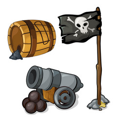 wooden barrel of gunpowder cannon and pirate flag vector image vector image