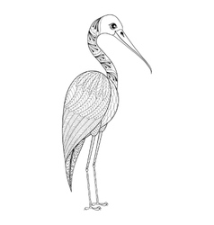 Zentangle Hand drawn Stork for adult antistress vector image vector image