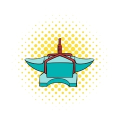 Anvil with rope icon comics style vector image