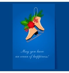 Christmas Skates with Fir Berries and Poinsettia vector image vector image