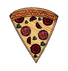 color crayon stripe cartoon slice pizza of vector image