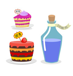 Eat me cake Drink Me potion Set meal for Alice in vector image vector image