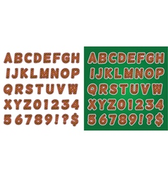 Green and Red Candy Cane Alphabet vector image