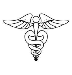 isolated caduceus emblem vector image
