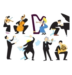 Music orchestra people isolated on white vector