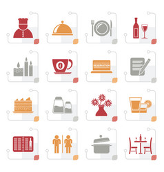 stylized restaurant cafe and bar icons vector image vector image