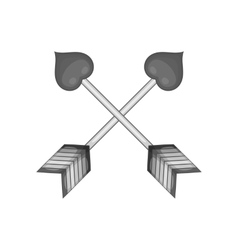 Two crossed arrows of cupid with hearts icon vector image