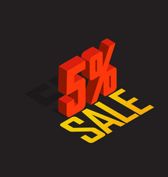 5 percent off sale red isometric object 3d vector