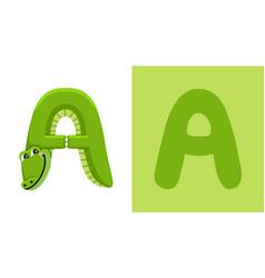 A is for alligator letter alligator animal vector