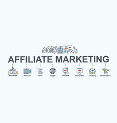 Affiliate marketing banner web icon vector