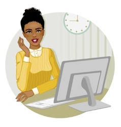 African American woman at the computer eps10 vector image
