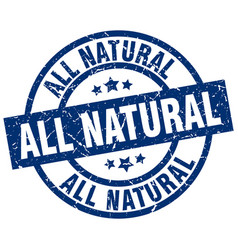 All natural blue round grunge stamp vector
