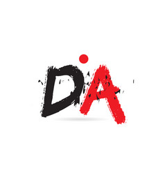 Alphabet letter combination da d a with grunge vector