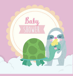 bashower cute sloth and turtle cartoon vector image