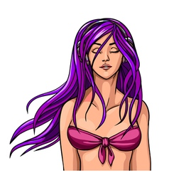 beautiful girl in a bathing suit with long hair vector image