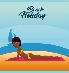 beautiful woman sunbathe on the beach desing vector image