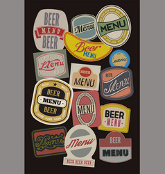 Beer menu design with retro beer labels vector