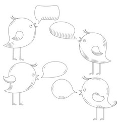 birds with dialog speech bubble set line art vector image