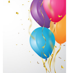 Birthday background with balloon and confetti vector