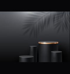 Black cylinder podium for product presentation vector