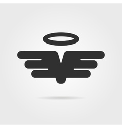 black wings with gloriole and shadow vector image