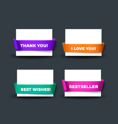 Blank business card template with red ribbon and vector