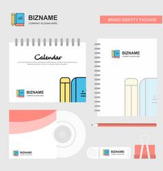 book and pencil logo calendar template cd cover vector image