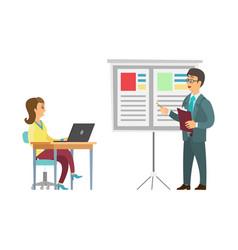 boss giving presentation employee woman table vector image