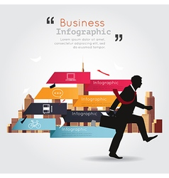 Business walking with infographic building vector