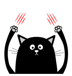 Cartoon black cat claw scratching red bloody vector
