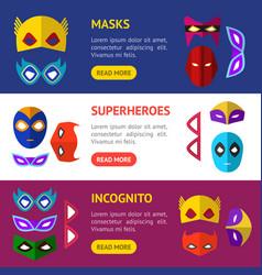 cartoon superhero mask banner horizontal set vector image