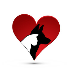 Cat and dog silhouette inside love heart icon vector