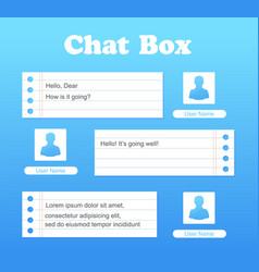 chat interface in blue color sms messages vector image