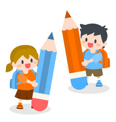 children with school bag holding pencil vector image