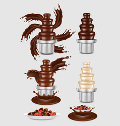 chocolate fountain machine icon set vector image