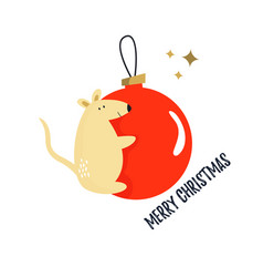 christmas card with funny mouse on a holiday ball vector image