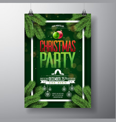 Christmas party flyer design with holiday vector