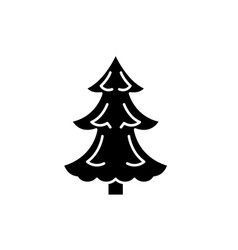 christmas tree black icon sign on isolated vector image