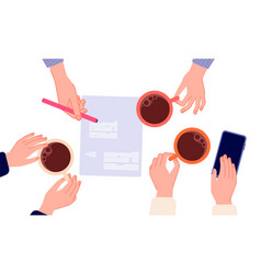 coffee break business meeting contract signing vector image