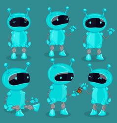 collection isolated robot in cartoon style blue vector image