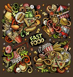 Colorful doodles cartoon set fastfood vector
