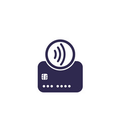 Contactless payments with card tap to pay icon vector