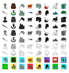Country scotland cartoon icons in set collection vector