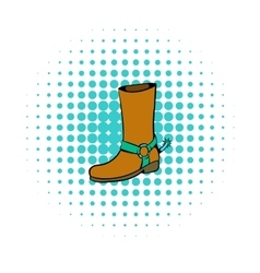 Cowboy boot icon comics style vector image