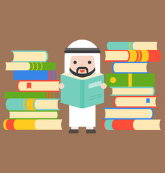 Cute arab businessman reading big book between vector