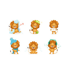 cute lion in different situations set funny vector image