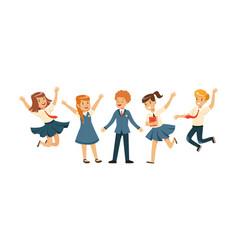 Cute school students in uniform collection happy vector