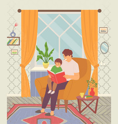 dad reading a tale to his little son and teaching vector image