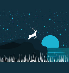 Deer on the shore of the lake night river vector