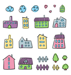 doodle home set color fun houses vector image